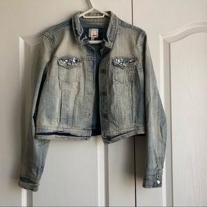 Acid Wash Denim/Jeans Jacket with Rhinestones